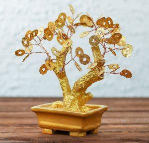 Денежное дерево из монет суеверия